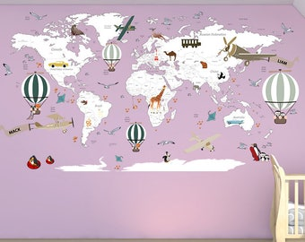World map decal etsy airplane world map decal clear vinyl decal boys room decals world map mural hot air balloon world map custom name map birds gumiabroncs Gallery