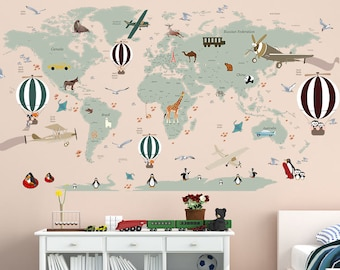Airplane world map decal clear vinyl decal boys room airplane world map decal clear vinyl decal boys room decals world map mural hot air balloon world map custom name map birds gumiabroncs Choice Image