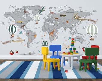 World map decal etsy airplane world map decal clear vinyl decal boys room decals world map mural hot air balloon world map custom name map birds gumiabroncs Image collections