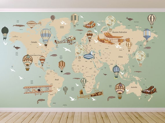 Avitation World Map Decal Airplane Map Wall Decal Clear Etsy
