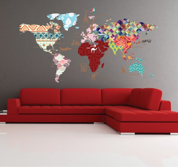 Cultural world map decal pattern map wall decal clear vinyl etsy image 0 gumiabroncs Images