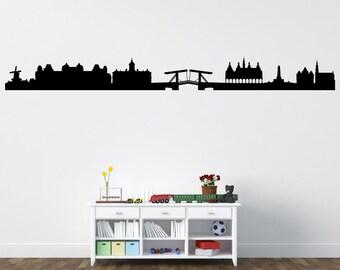 Amsterdam Skyline Decal - Vinyl Decal - Car Sticker - Laptop Sticker - Wall Decals - Wall Decor