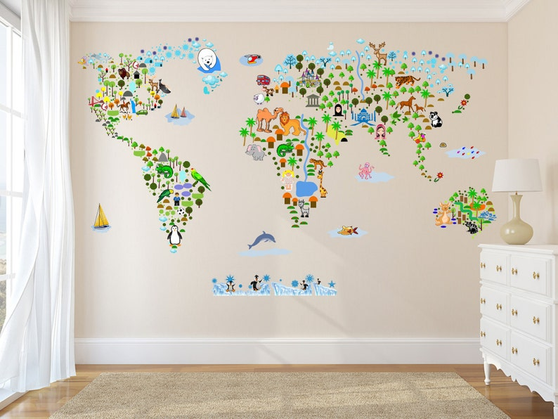 cultural world map wall decal reusable vinyl fabric | etsy