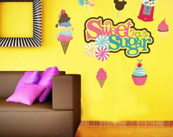 Ice Cream Wall Decal - Candy Decal - Sweet As Sugar Wall Decal - Reusable Vinyl Fabric - Repositionable Decal - Nursery Room Decals