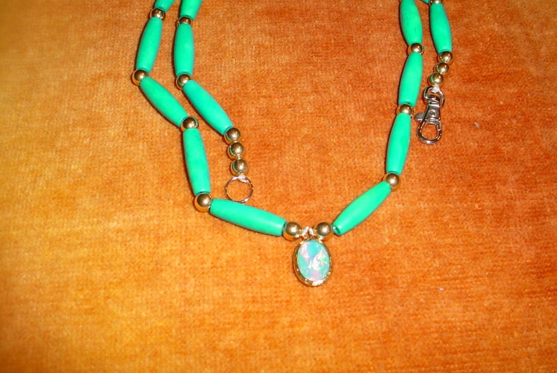 TEAL BONE And OPALIZED Glass Necklace