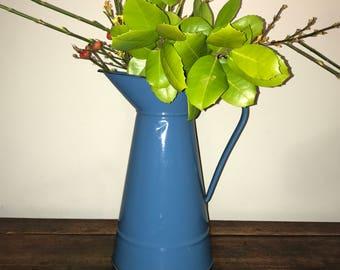 Vintage French blue enamel water pitcher