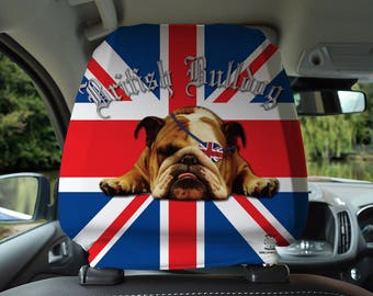 British Bulldog Union Jack Design Car Seat Headrest Cover 2 Pack Made In Yorkshire