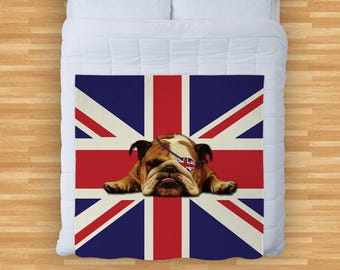 British Bulldog Union Jack Design Soft Fleece Blanket Cover Throw Over Sofa Bed Blanket