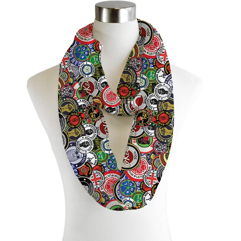 Northern Soul Patches Lightweight Infinity Scarf Fashion Loop Chiffon Jersey