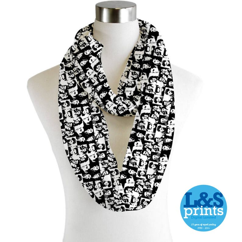 Infinity Scarf Jersey//Chiffon Michael Jackson Black /& White Fashion Loop Scarves