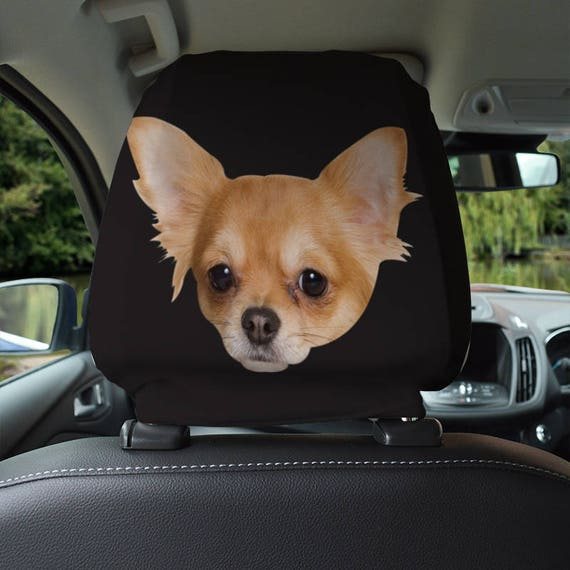 Chihuahua Dog Design Car Seat Headrest Cover 2 Pack Made In