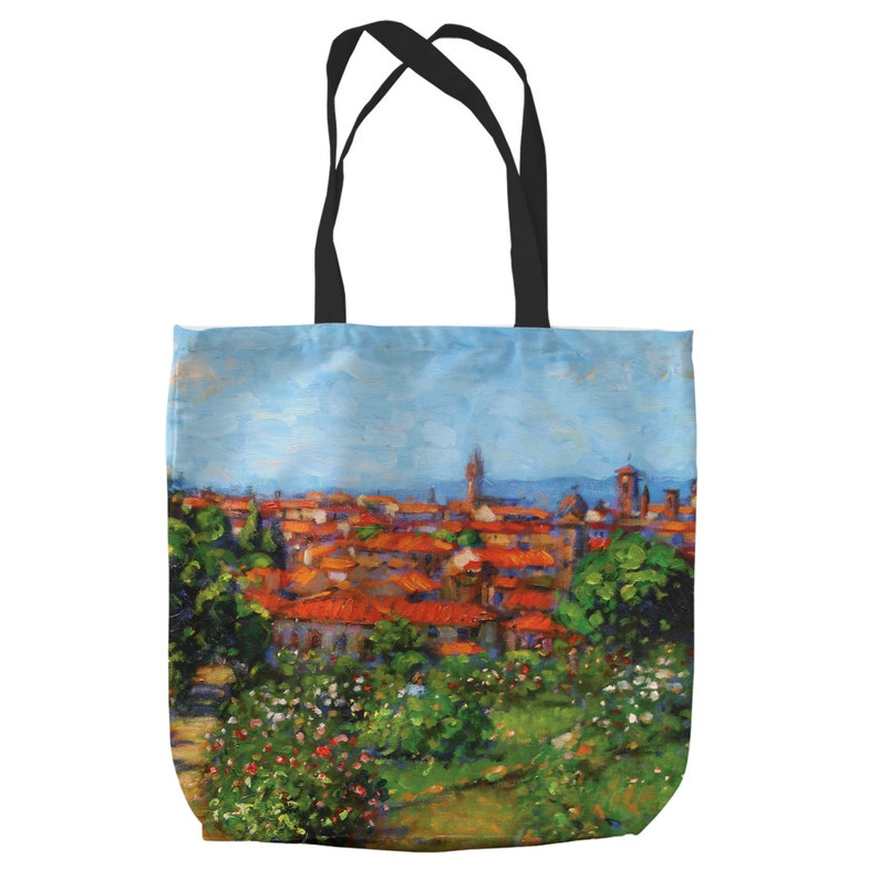 Large Tote Shopping Beach Bag A Garden Into Florence Italy By Artist John Mackie