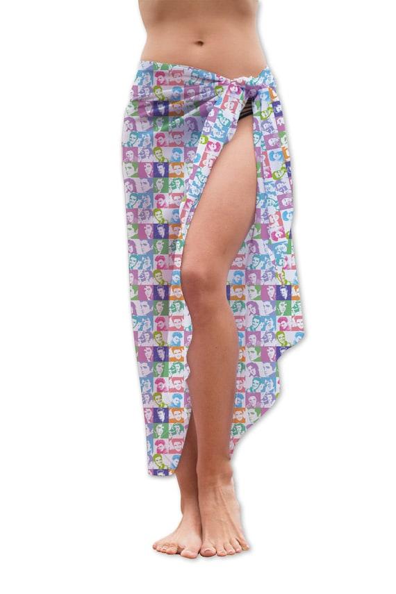 ff1923f0a6036 Colourful Elvis Design Chiffon Sarong Beach Wear Cover Up Wrap