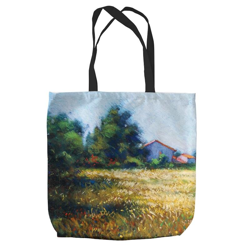 Large Tote Shopping Beach Bag Golden Field Sanary By Artist John Mackie Gift
