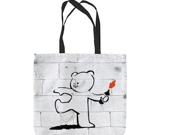 Banksy Bear Molotov Design Tote Bag Shopping Bag Beach Bag School Bag