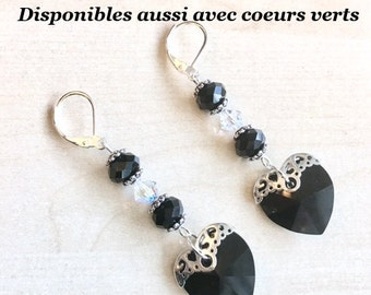 925 Silver earrings and black Swarovski Crystal hearts