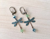 Golden Dragonflies Earrings with sapphire blue Swarovski crystal, gold Plated Sleepers