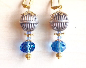 Blue Crystal, Venetian style earrings