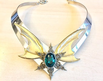 Breastplate necklace with large bronze wings and green Swarovski crystal cabochon