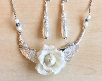 Wedding set, bridal jewelry, white porcelain jewelery