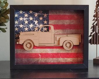 Ford Pickup F-1, Gen 1, Classic Car, Vintage Truck, Detroit, Blue Oval, Garage Art, Man Cave, Office Decor, US flag, Laser Cut