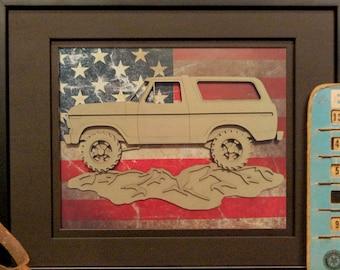 Ford Bronco, 2nd Generation, Blue oval, 4x4, Offroad, Vintage Truck, Garage Art, Man Cave, Office Decor, US flag, Laser Cut