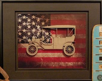 Ford Model T, Tin Lizzie, Vintage Car, Classic Car, Antique Auto, Garage Art, Man Cave, Office Decor, US flag, Detroit, Blue Oval, Laser Cut