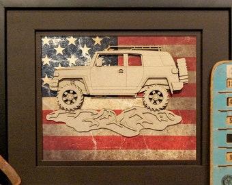 Toyota FJ Cruiser, 4x4, Offroad, Vintage Truck, Garage Art, Man Cave, Office Decor, US flag, Laser Cut