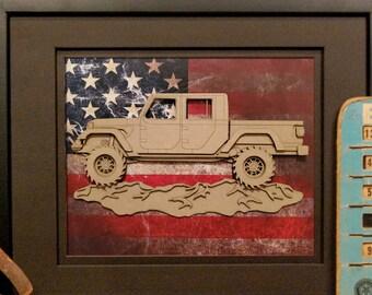 Jeep Gladiator JT pickup, 4x4, Offroad, Garage Art, Man Cave, Office Decor, US flag, Laser Cut