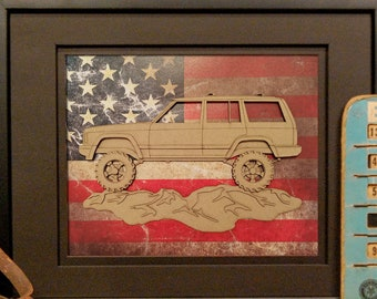 Jeep Cherokee, XJ, 4x4, Offroad, Vintage Truck, Garage Art, Man Cave, Office Decor, US flag, Laser Cut