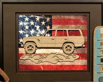 Toyota Land Cruiser, J60, FJ60, 4x4, Offroad, Vintage Truck, Garage Art, Man Cave, Office Decor, US flag, Laser Cut