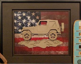 Jeep Wrangler TJ, 4x4, Offroad, Vintage Truck, Garage Art, Man Cave, Office Decor, US flag, Laser Cut