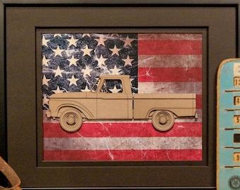 Ford Pickup F-100, Gen 4, split box, Classic Car, Vintage Truck, Detroit, Blue Oval, Garage Art, Man Cave, Office Decor, US flag, Laser Cut