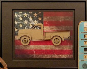 Studebaker M5 M15 M15A pickup truck, Classic Car, Vintage Truck, Garage Art, Man Cave, Office Decor, US flag, Laser Cut