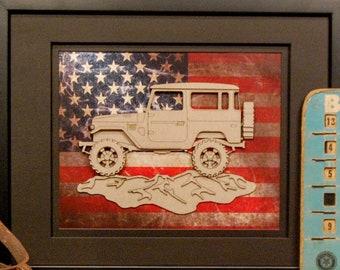 Toyota Land Cruiser, J40, FJ40, 4x4, Offroad, Vintage Truck, Garage Art, Man Cave, Office Decor, US flag, Laser Cut