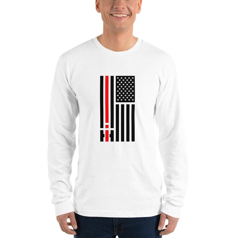 International Harvester IHC US Flag Patriotic Long sleeve t-shirt - Farmall  - Scout - Travelall - Terra - Metro - Transtar - Eagle - MXT