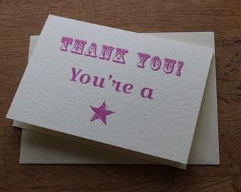 Thank you card handmade vintage style