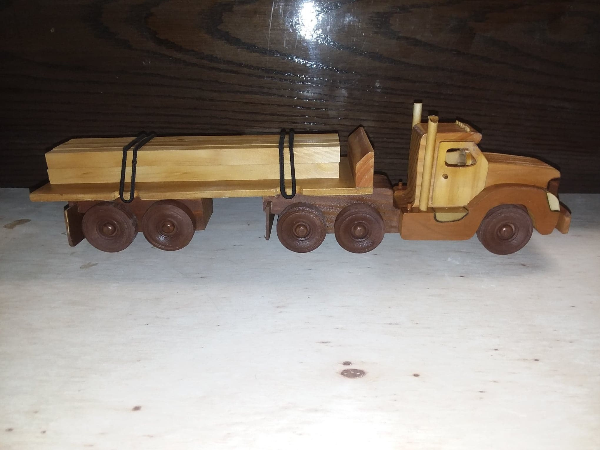 homemade wooden toy lumber truck