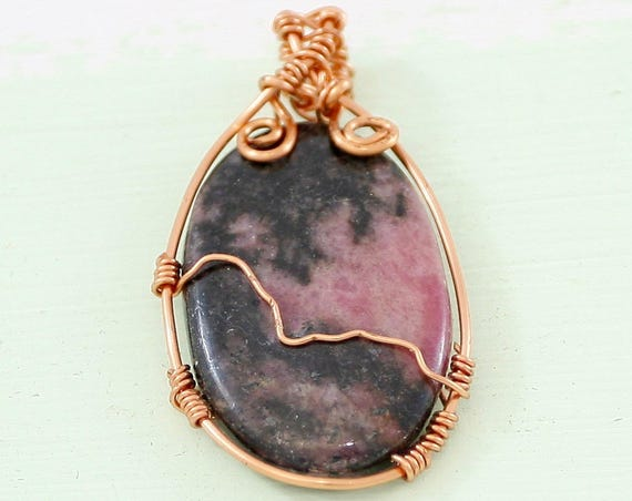 Mountain View. Rhodonite Wrapped Pendant