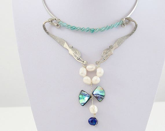 Mermaid Garden Apatite, Pearl & Abalone Enhancer Collar Necklace