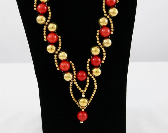 Christmas Baubles Necklace - Haematite & Red quartzite