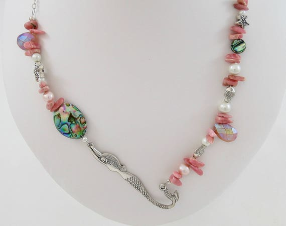 Dive Right In - Rhodochrosite, Carnelian, Pearl & Abalone Necklace