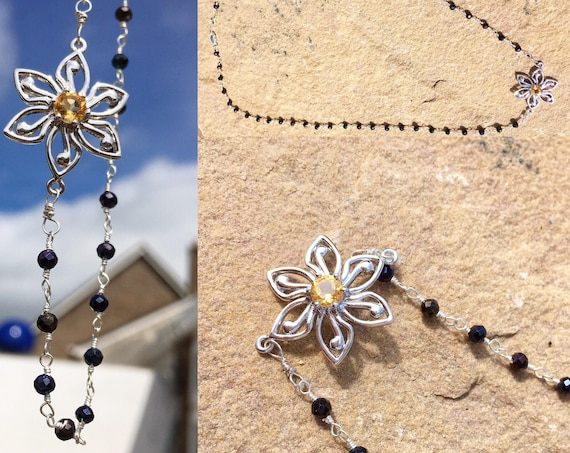 Sterling Silver Citrine & Spinel Flower Necklace