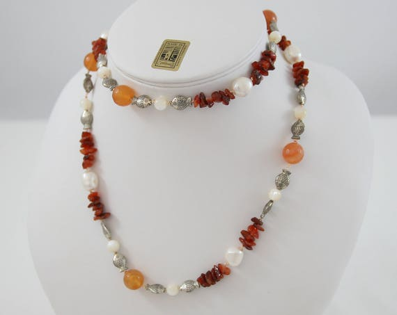 Pearl, Carnelian & Mother of Pearl Long Fish Necklace