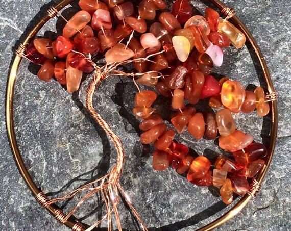 Warm Embers.  Carnelian Tree of Life or Yggdrasil