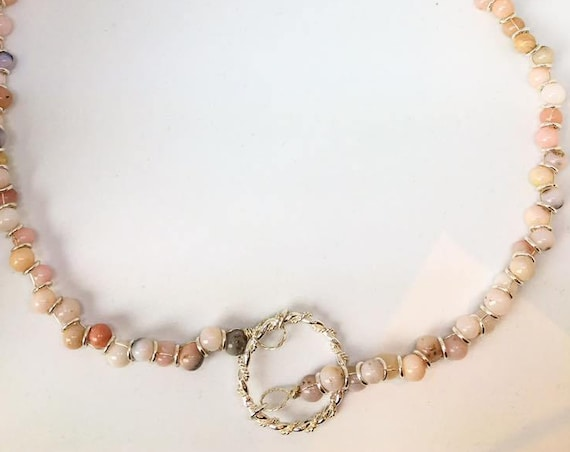 Peruvian Passion. Pink Opal Infinity Necklace