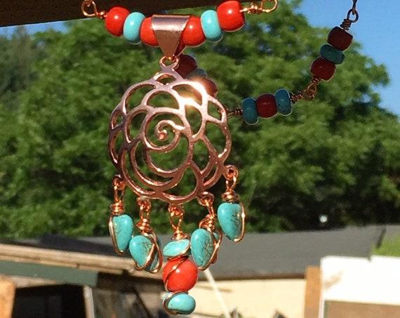 Beautiful Boho Lotus - Coral & Magnesite Rosary Necklace
