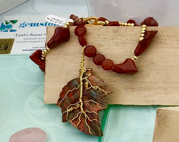 Autumnal. Carved Poppy Jasper Leaf & Red Agate Floral Necklace