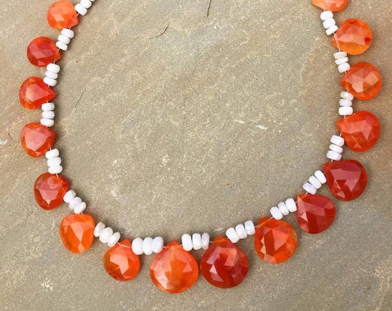 Fire and Ice. Rare Sillimanite and Carnelian Necklace