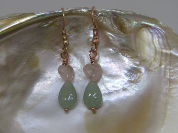 Summertime Earrings- Rose Quartz & Aventurine Leaves